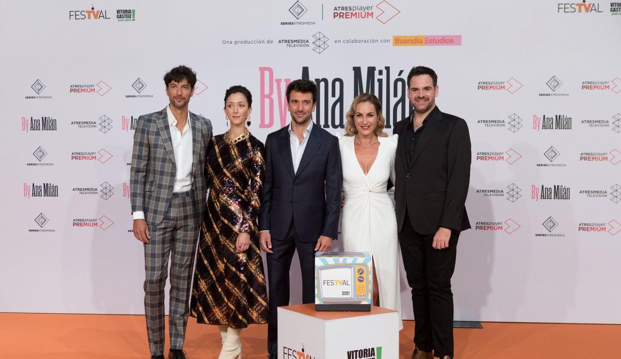 Cristóbal Suárez, Pilar Bergés, Marcelo Converti, Ana Milán y Jorge Usón en el FesTVal de Vitoria