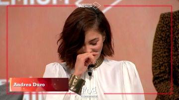 Andrea Duro se emociona en la rueda de prensa de 'FoQ: el reencuentro'